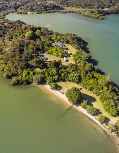 Aroha Island - aerial shot